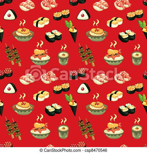 seamless Japanese food pattern - csp8470546