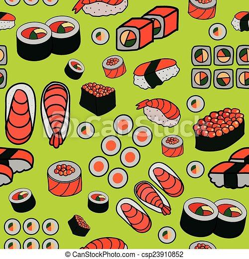 seamless Japanese food pattern - csp23910852