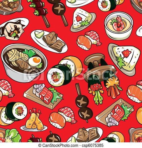 seamless Japanese food pattern  - csp6075385
