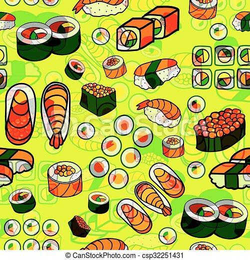 seamless Japanese food pattern - csp32251431