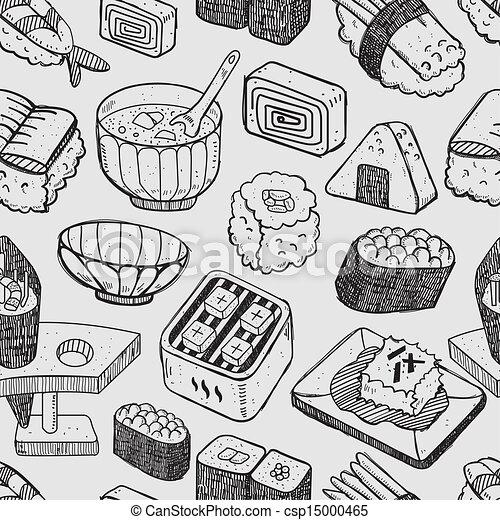 seamless Japanese sushi pattern - csp15000465