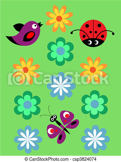 Seamless jolly pattern with Ladybug, birds and flowers - csp3824074