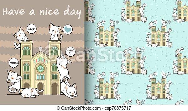 Seamless kawaii cats with a historic chapel pattern - csp70875717