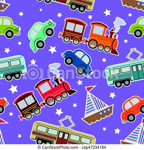 Seamless Kids Transport Toys Background Cartoon Vector Illustration