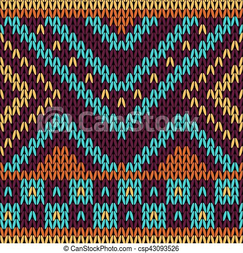 Seamless knitted pattern in ethnic style. - csp43093526
