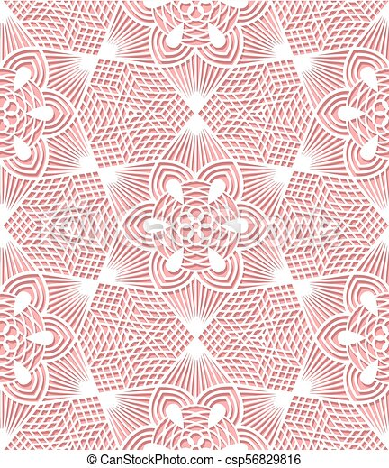 Seamless lace pattern on pink background - csp56829816