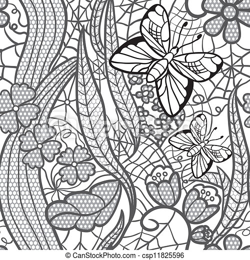 Seamless lacy pattern with flowers and butterflies - csp11825596