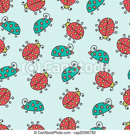 seamless lady bug illustration background pattern - csp20395782