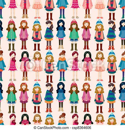 seamless lady pattern - csp8364606