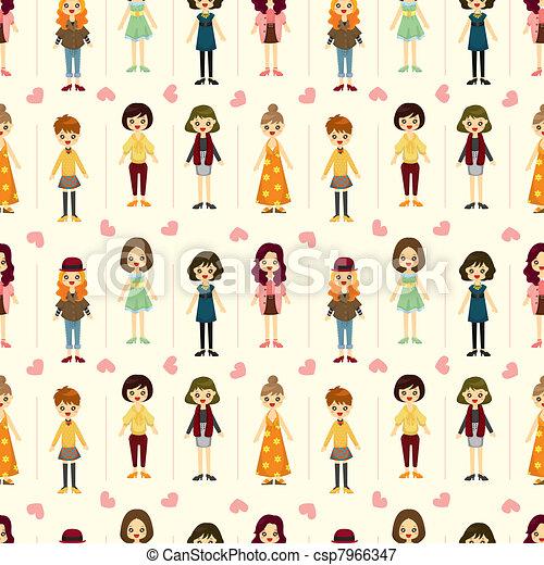 seamless lady pattern - csp7966347