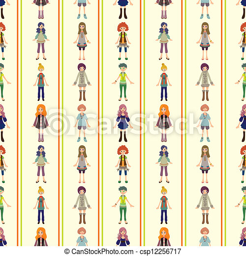 seamless lady pattern - csp12256717