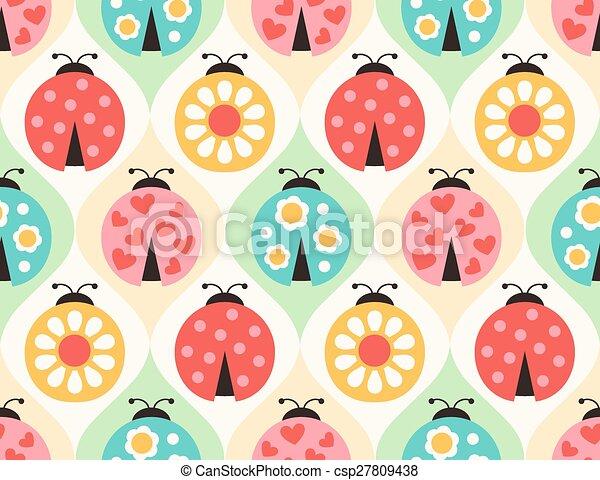 seamless ladybugs cartoon pattern - csp27809438