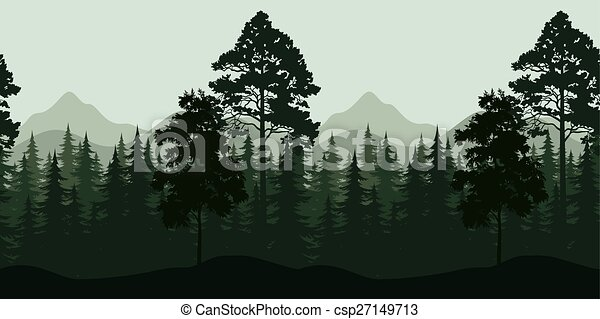 Seamless Landscape, Trees and Mountains - csp27149713