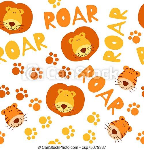 seamless, lindo, leones, patrón, tigres - csp75079337