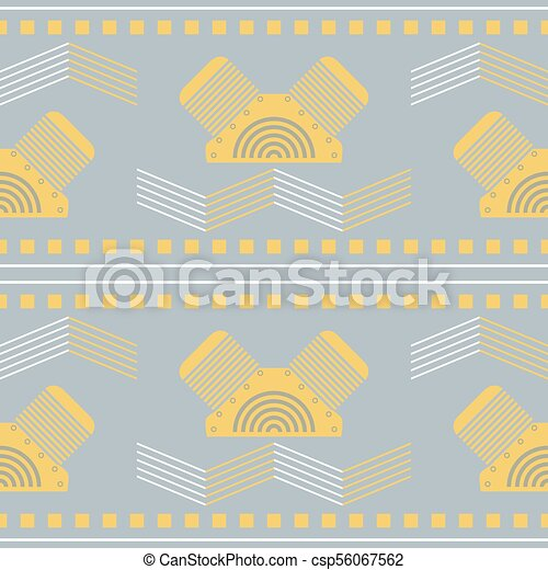 28e86390efa Seamless mechanical steampunk geometric pattern in gray and yellow -  csp56067562