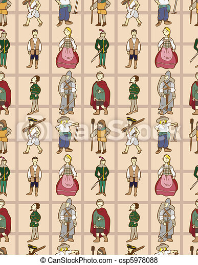 seamless Middle Ages people pattern - csp5978088
