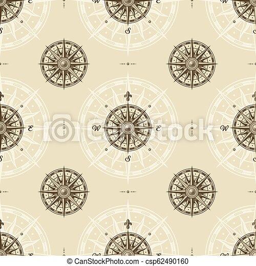 seamless, modèle, rose compas, vendange - csp62490160