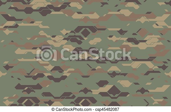 Seamless Modern Army Camouflage Fabric Texture Abstract Vector Futuristic Camo Damask Background Geometric Tech Pattern Wrapping Paper Design