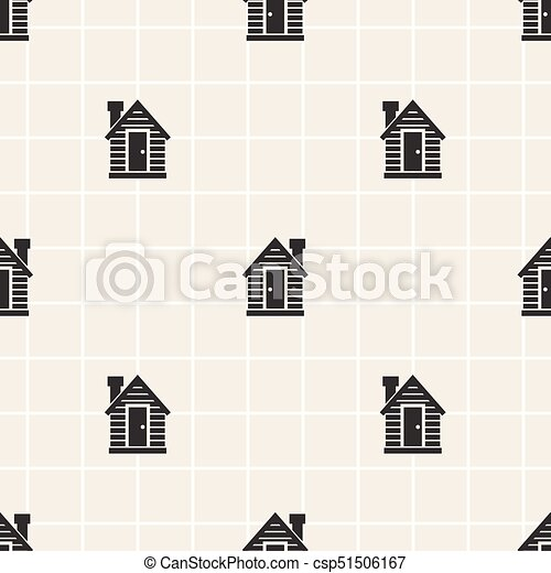 seamless monochrome little house pattern background - csp51506167