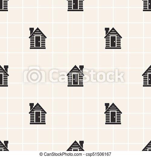 seamless monochrome little house pattern background - csp51506167
