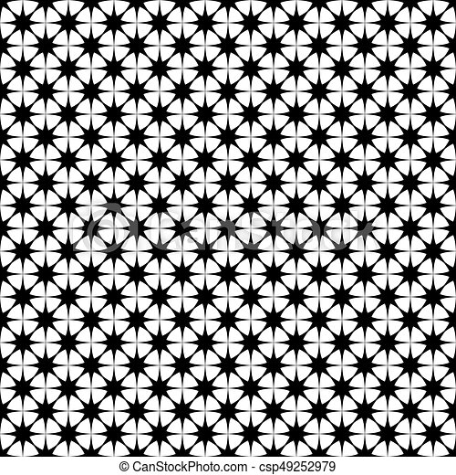 Seamless Monochrome Star Pattern   Vector Background Graphic Design From  Geometric Polygonal Shapes