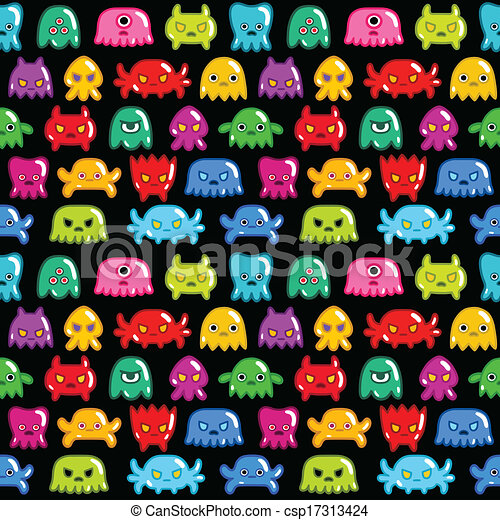 Seamless monsters pattern - csp17313424