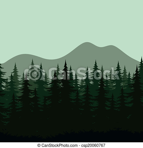 Seamless mountain landscape, forest silhouettes - csp20060767