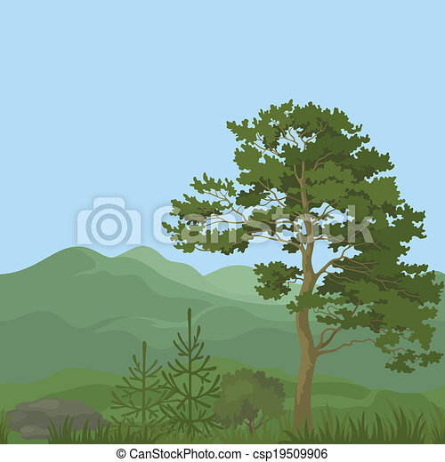 Seamless, mountain landscape with trees - csp19509906