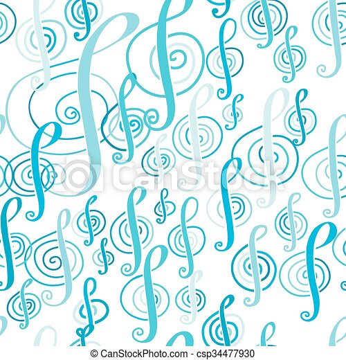 Seamless music pattern with a treble clef - csp34477930