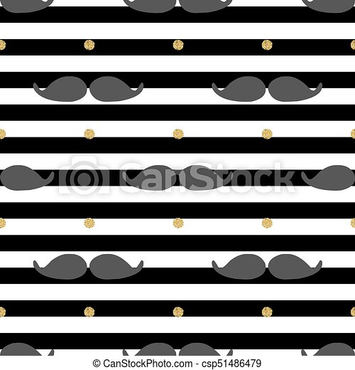 seamless mustache with gold dot glitter pattern on stripe background - csp51486479
