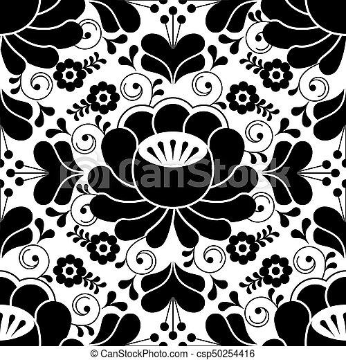 Seamless, muster, traditionelle , design, russische, schwarz, weisse ...