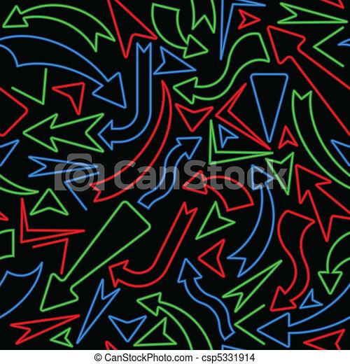Seamless neon arrow background - csp5331914