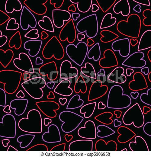 Seamless neon heart background - csp5306958