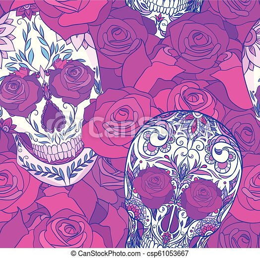 Seamless Neon Texture With Sugar Skulls And Roses The Day Of The Dead