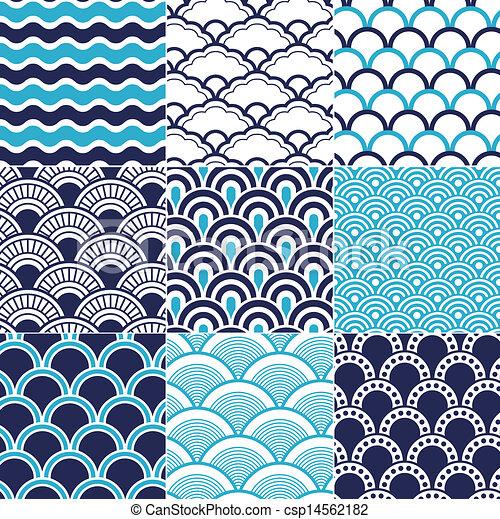 Seamless Ocean Wave Pattern Classy Wave Pattern