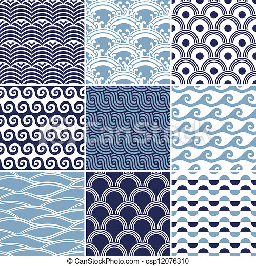 seamless ocean wave pattern - csp12076310