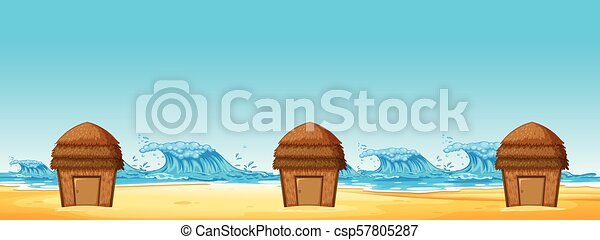 Seamless of Beach Hut - csp57805287
