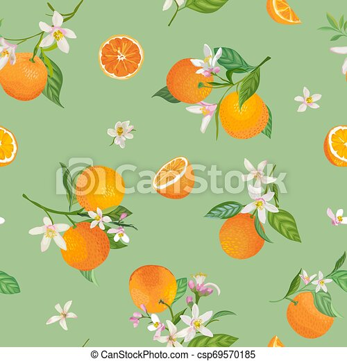 seamless orange pattern with tropic eps vector csp69570185