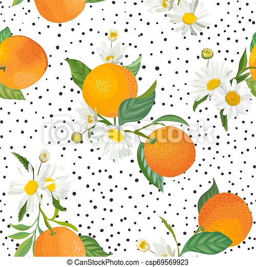 seamless orange pattern with tropic illustration csp69569923