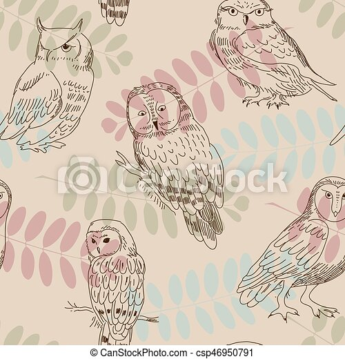 Seamless ornament with wild owls on a background of tree branches - csp46950791