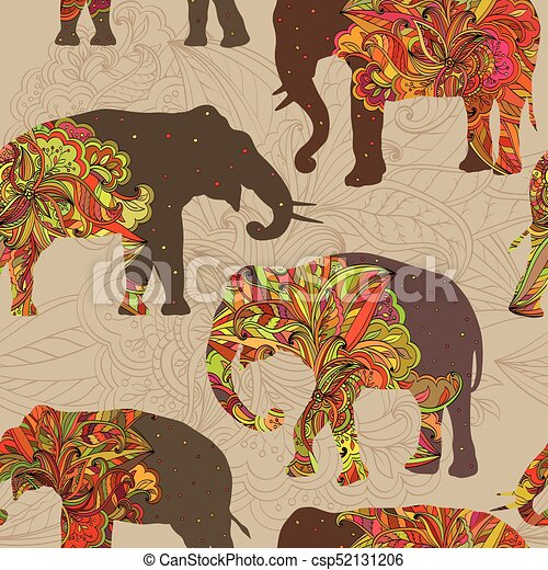 Seamless ornamental pattern with elephants - csp52131206