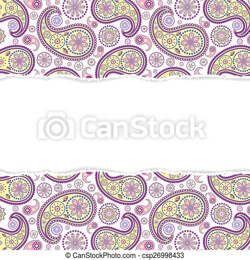 seamless paisley pattern with torn paper - csp26998433