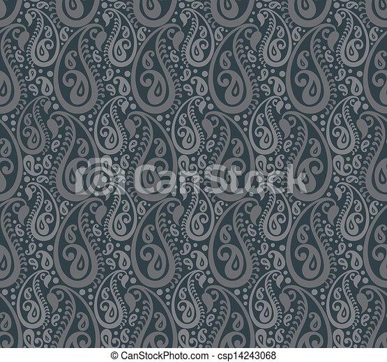Seamless paisley vector background - csp14243068