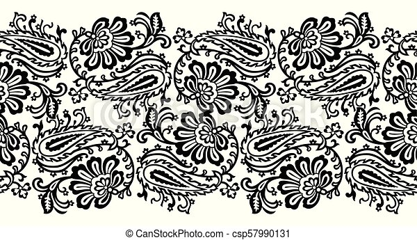 Seamless paisley with floral vector border - csp57990131