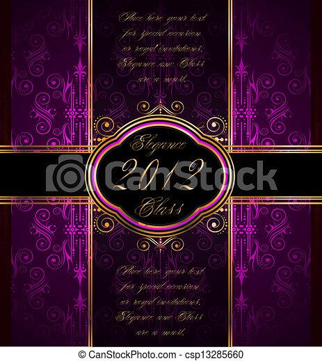 Elegante papel de pared sin costura con decoración dorada - csp13285660