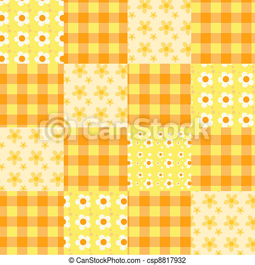 Seamless patchwork pattern orange. - csp8817932