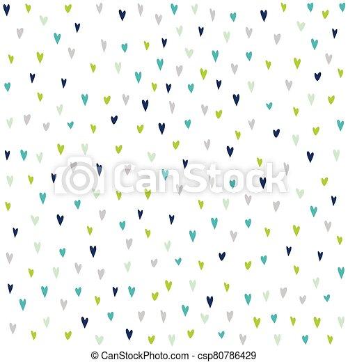 seamless, patrón, dibujado, hearts., colorido, mano - csp80786429