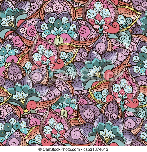 Patrón sin marca con flores coloridas - csp31874613