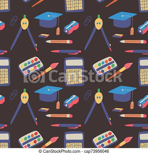 Seamless Pattern Back To School With Hand Drawn Graphic Elements Learning Education Backdrop Wallpaper Background