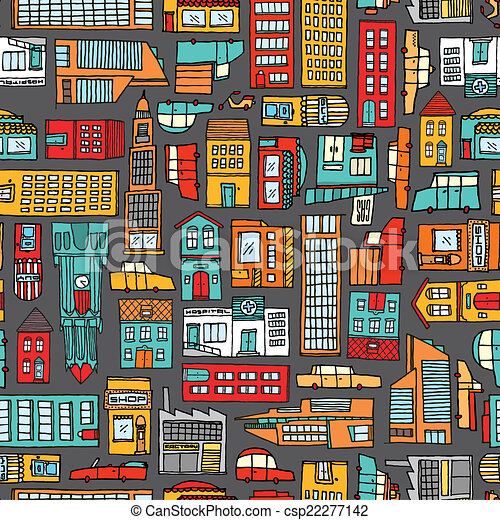 Seamless pattern background of cartoon city - csp22277142